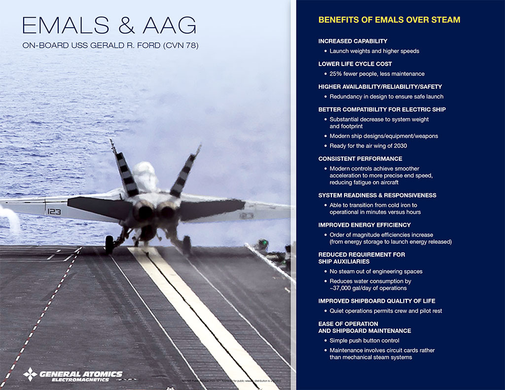 EMALS & AAG: Benefits of EMALS over steam catapults