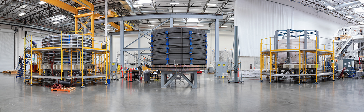 Three ITER CS modules in different fabrication stages