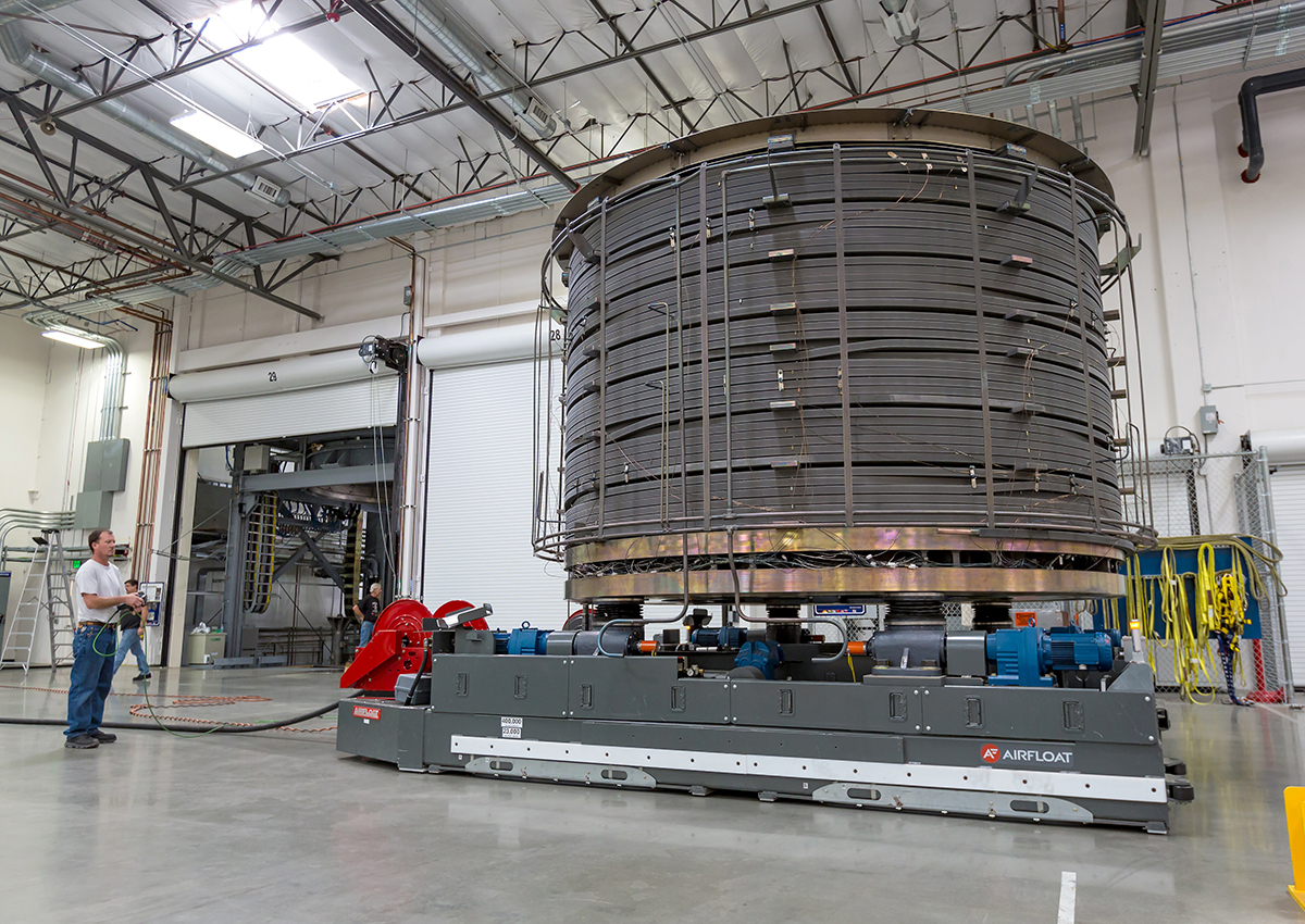 Moving 250,000 lbs (110-tonne) module in facility requires air transporter